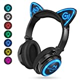 MindKoo Wireless Headphones Bluetooth LED Light Up 7 Color Blinking Cat Ear Over Ear/On Ear Safe Foldable Headset Stero with Microphone for iPhone/iPad/Smartphones/Laptop/PC/TV Kids Adults