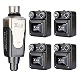 Xvive U4R4 Wireless in-Ear Monitoring System IEM System for Studio, Band Rehearsal,Live Performance Transmitter and Beltpack Receiver(1 Transmitter and 4 Receiver)