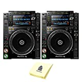 Pioneer DJ CDJ-2000NXS2 Professional Multi Player DJ CD Player or Media Player (PAIR) with 7' Multicolor Touchscreen, Platter Controlsm & Complete Rekordbox Integration BUNDLE with Zorro Sounds Cloth