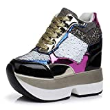 Women's Sparkle Sequins High Top Wedge Fashion Sneakers Hidden Heel Platform Casual Shoes