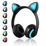 Luckyu Wireless Bluetooth Cat Ear Headphones with Mic 7 Colors LED Light Flashing Glowing On-Ear Stereo Headset Compatible with Smartphones PC Tablet