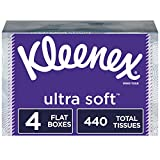 Kleenex Ultra Soft Facial Tissues, 4 Flat Boxes, 110 Tissues per Box (440 Count Total)