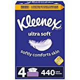 Kleenex Ultra Soft Facial Tissues, 4 Flat Boxes, 110 Tissues per Box (440 Total Tissues)