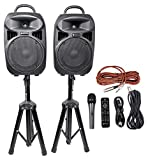 Rockville Pair Dual 15' 2000w Powered DJ Speaker System w/Bluetooth+Mic, (RPG225K)