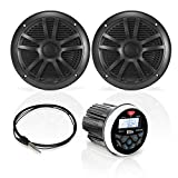 BOSS Audio Systems MCKGB350B.6 Weatherproof Marine Gauge Receiver and Speaker Package - IPX6 Receiver, 6.5 Inch Speakers, Bluetooth Audio, USB, MP3, AM/FM, NOAA Weather Band Tuner, No CD Player, 1 pair black speakers, One Pair of 6.5 inch