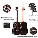 Caramel CB500 30 Inch All Rosewood Baritone Acoustic Electric Ukulele With Truss Rod with D-G-B-E Strings