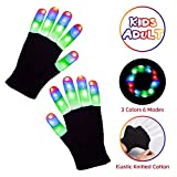 LED Gloves Kids Toys Stocking Stuffers Light Up Gloves 3 Colors 6 Modes Gifts for Boys Girls Children with for Kids with Teen Size (Age 8-25) for Halloween Christmas Party Camping Outdoor Games