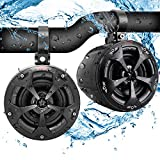 Pyle PLUTV41BK 2-Way Dual Waterproof Off-Road Speakers, 4 Inch 800 Watt Marine Grade Wakeboard Tower Speakers System, Full Range Outdoor Audio Stereo Speaker for ATV, UTV, Quad, Jeep, Boat -Black