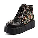 RoseG Women's Handmade High Top Goth Punk Flats Platform Creeper Boots