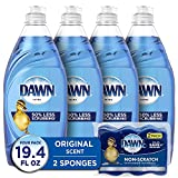 Dawn Ultra Dishwashing Liquid Dish Soap (4x19oz) + Non-Scratch Sponge (2ct), Original Scent (Packaging May Vary), Combo pack
