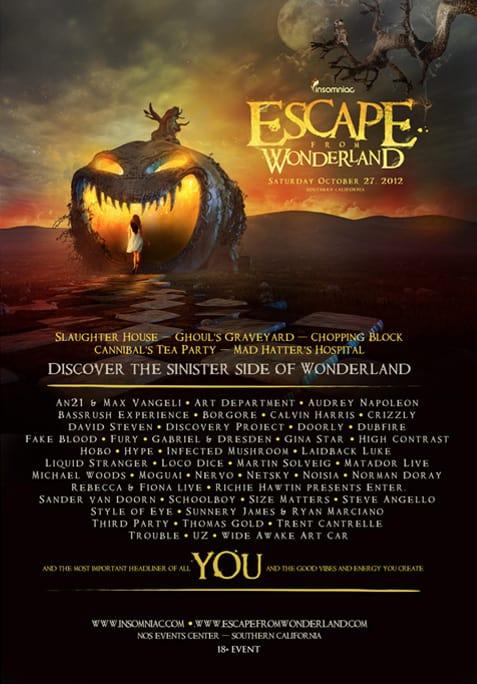 Escape Wonderland Lineup Announced 2012