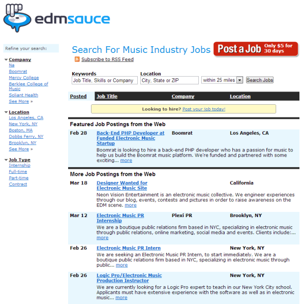 Music Industry Job Board