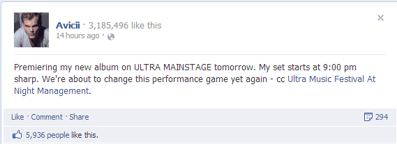 Avicii Will Perform His New Album on Stage at Ultra