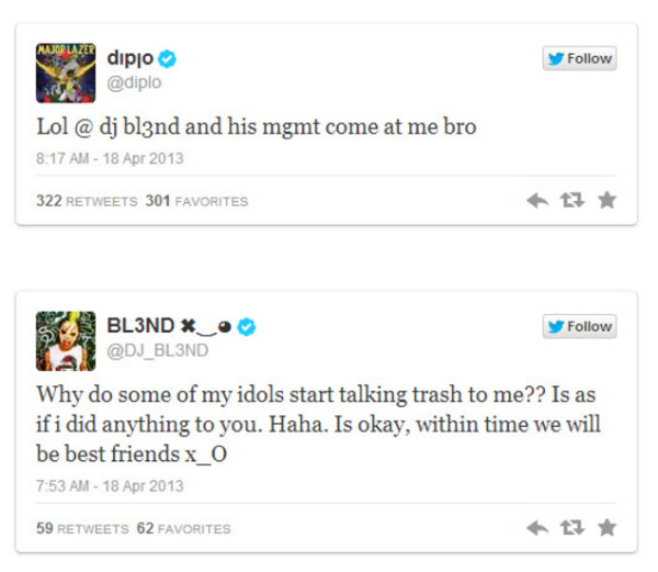 Diplo and DJ BL3ND Exchange Words Over Social Media Followers