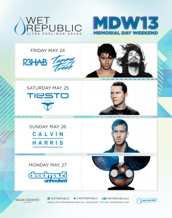 Memorial Day Lineups for Las Vegas' Wet Republic & Hakkasan