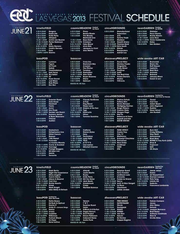 EDC 2013 Set Times