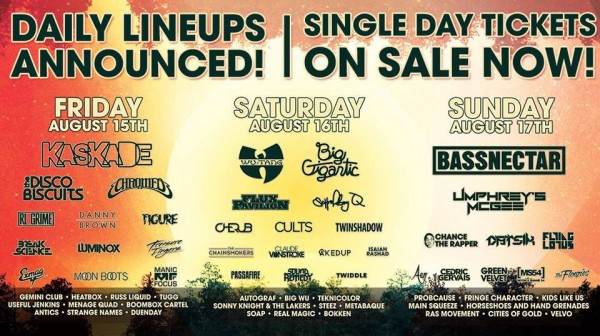 SSMF lineup 600x336 Single Day Tickets for Summer Set Music & Camping Festival