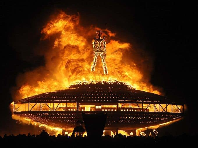 Burning Man festival attendee dies after running into flames