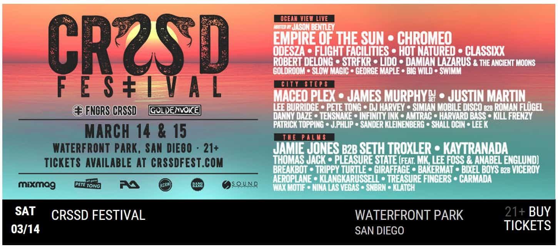 CRSSD Line Up 2015 San Diego