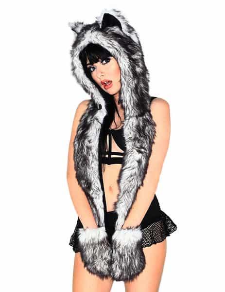 Black Husky Furry Hood